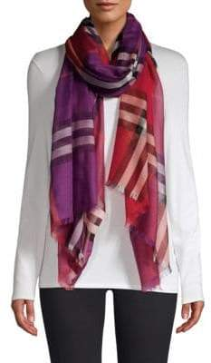 Burberry Colorblock Giant Check Wool& Silk Scarf