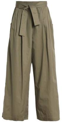Tome Belted Cotton-Twill Wide-Leg Pants