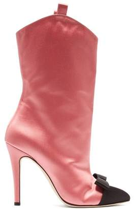 Alessandra Rich - Bow Front Point Toe Satin Ankle Boots - Womens - Pink Multi