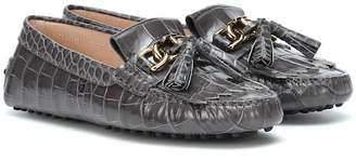 Tod's Gommino embossed leather loafers