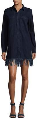 3x1 Women's WD Fringed Denim Shirt Dress