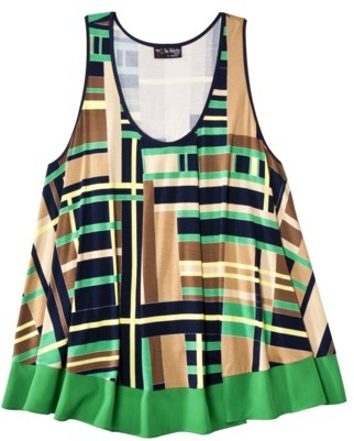 The Webster at Target® Womens Plus-Size Scoop-Neck Fashion Tank - Navy/Green