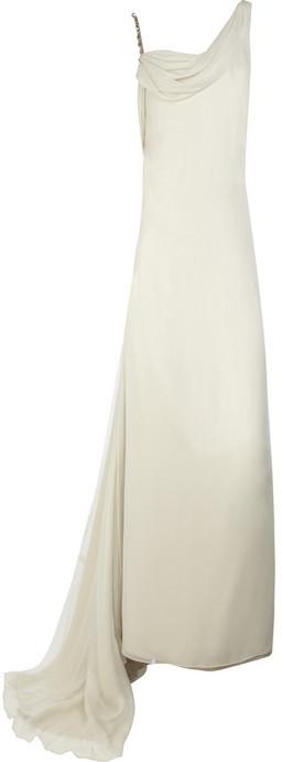 Marchesa Draped silk-chiffon gown
