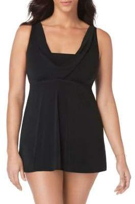 Longitude Little Black Cowl Neck Swimdress