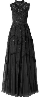 Daisy Embroidered Embellished Tulle Gown - Black