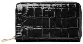 Aspinal of London Midi Continental Clutch Zip Wallet In Deep Shine Black Croc