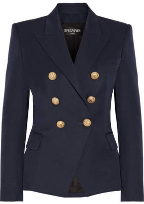 Balmain - Double-breasted Wool-twill Blazer - Navy $1,995 thestylecure.com