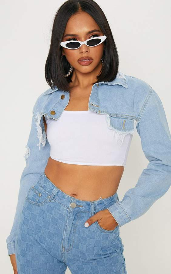 Light Wash Super Crop Distressed Denim Jacket