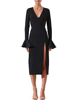 Shona Joy Andrea Plunged Frill Cuff Midi Dress