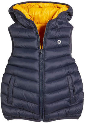 Mayoral Hooded Reversible Padded Puffer Vest, Size 3-7