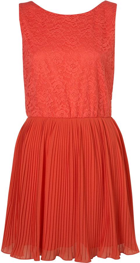 Petite Coral Lace Pleat Cute Skirt