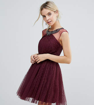 Little Mistress Petite Embellished Mesh Top Full Prom Skater Dress