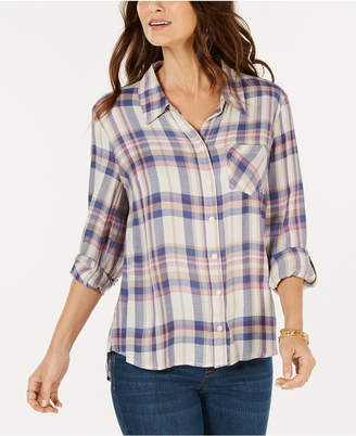 Style&Co. Style & Co Petite Plaid Roll-Tab Shirt, Created for Macy's