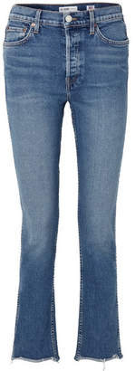 RE/DONE Double Needle Long Frayed High-rise Slim-leg Jeans - Mid denim
