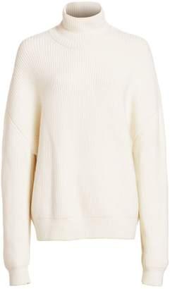 Brandon Maxwell Oversized Wool Rib-Knit Turtleneck Sweater