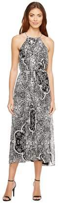 Donna Morgan Pleated Midi Dress with High-Low Hem Women's Dress