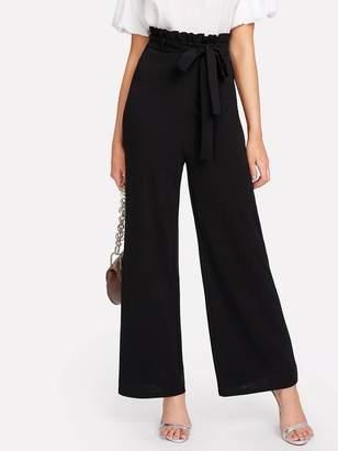Shein Self Belt Paperbag Waist Wide Leg Pants