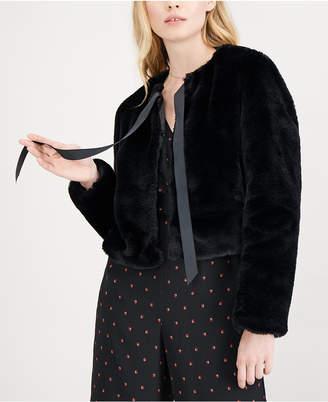 Maison Jules Tie-Neck Faux-Fur Jacket