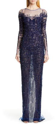 Pamella Roland Long Sleeve Sequin Column Gown