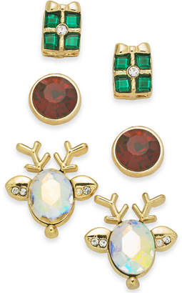 Charter Club Holiday Lane Gold-Tone 3-Pc. Set Holiday Reindeer & Present Stud Earrings, Created for Macy's