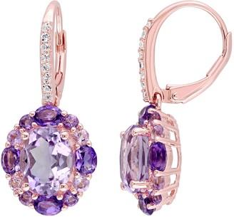 Sterling 5.45 cttw Amethyst & Rose de France Earrings