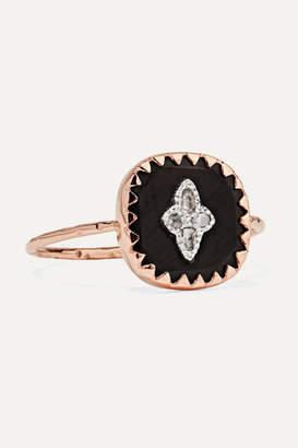 Pascale Monvoisin Pierrot 9-karat Rose Gold, Bakelite And Diamond Ring