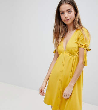 Asos Mini Button Through Tea Dress With Tie Sleeve