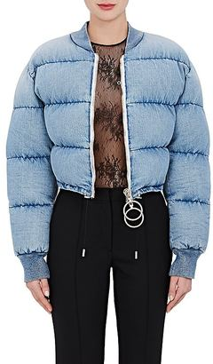 Off-White c/o Virgil Abloh Women's Denim Crop Puffer Jacket $1,125 thestylecure.com