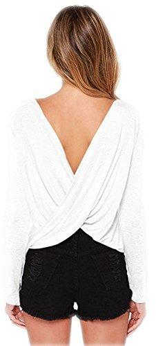 Bestisun Women's Loose Backless Long Sleeve Top Blouse T-shirt XL