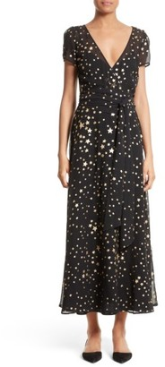 Women's Red Valentino Lame Star Wrap Maxi Dress $1,195 thestylecure.com