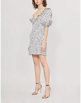 Self-Portrait Polka-dot ruffled satin mini dress