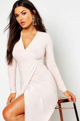 boohoo Slinky Wrap Front Midi Dress