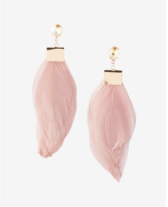 Express Oval Stone Feather Drop Earrings $24.90 thestylecure.com