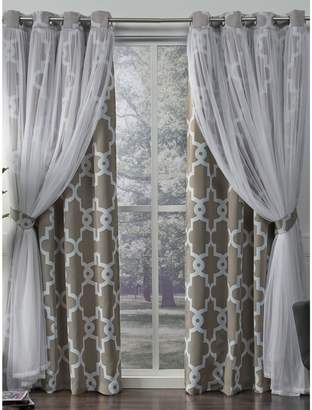 Home Outfitters Alegra Geo Blackout Sheer Layered Curtain Panel Pair