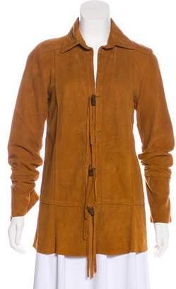 Elizabeth and James Suede Fringe-Accented Jacket