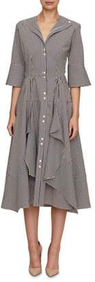 Palmer Harding Palmer//Harding April 3/4-Sleeve Button-Down Striped Dress