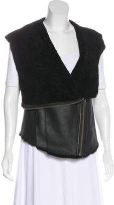 Helmut Lang Shearling-Lined Leather Vest
