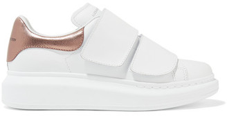 Alexander McQueen - Metallic-trimmed Leather Exaggerated-sole Sneakers - White $575 thestylecure.com