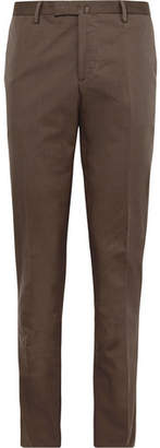 Boglioli Brown Slim-Fit Stretch-Cotton Twill Suit Trousers