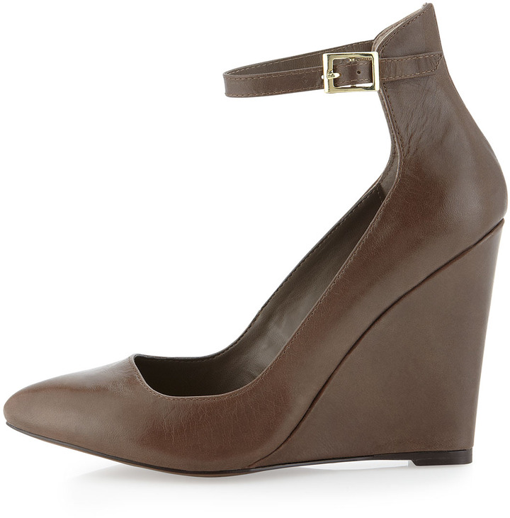 Steve Madden Steven by Wisty Halter Ankle Wedge Pump, Taupe