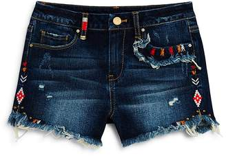 Blank NYC BLANKNYC Girls' Embroidered Dark-Wash Denim Shorts - Big Kid