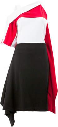 Koché colour block one shoulder dress with draped detail