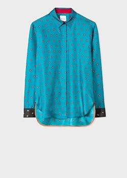 Paul Smith Women's Turquoise 'Daisy Polka' Print Shirt