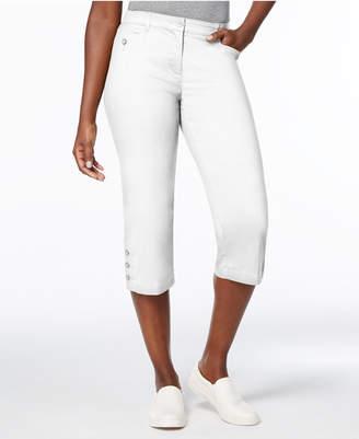 Karen Scott Petite Button-Cuff Capri Pants, Created for Macy's
