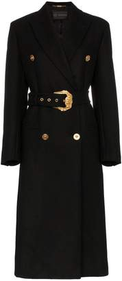 Versace double-breasted long wool coat