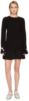 RED Valentino Knit Dress with Slit Sleeve Point D'Esprit Flounce Women's Dress