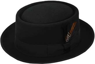 MLN Men's Pork Pie Wool Felt Fedora (2XL)
