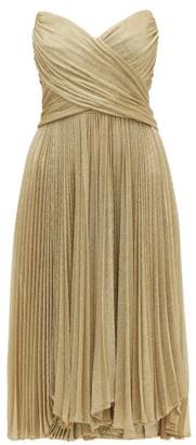 Maria Lucia Hohan Kaira Tie Back Sweetheart Neckline Metallic Dress - Womens - Gold