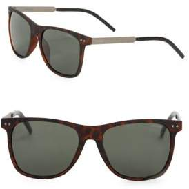 Polaroid Matte Havana 55mm Square Polarized Sunglasses