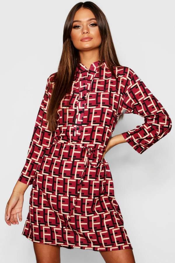 Geo Print Tie Waist Shirt Dress